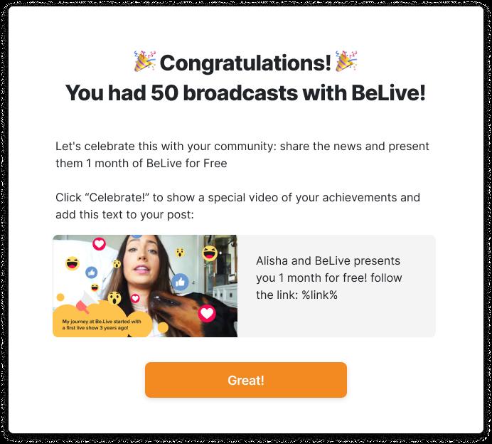 BeLive Celebration Pop Up